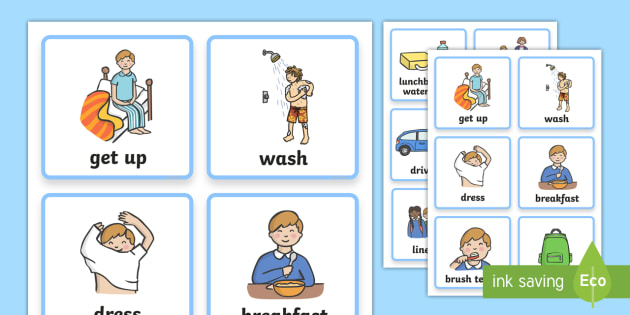 Visual Timetable  (Getting Ready For School - Boys) - getting ready for school, education, child development, children activities, free, kids, speech