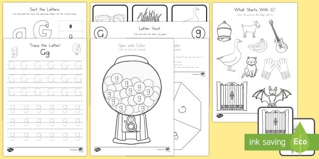 Letter G Activity Pack - Alphabet Packets, Letter G, EYFS, KS1, Kindergarten, Letter Formation, Letter Identification, Beginn