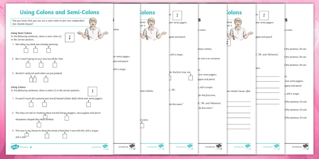 Using Colons And Semi Colons Differentiated Worksheets
