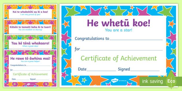 Te Reo Māori Phrase Certificates Te Reo Māori / English - New Zealand Class Management, certificates, Te Reo Māori