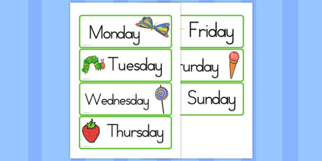 Days of the Week Cards to Support Teaching on The Very Hungry Caterpillar - australia