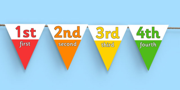 1-20 Ordinal Number Bunting - 1-20, ordinal number, bunting, ordinal, number, display bunting, first, second, third, flags