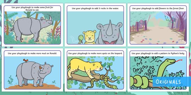 Ronald the Rhino Playdough Mats - Ronald the Rhino, rhyming, pattern, story, jungle, Africa, rhino, playdough, playdoh, finger gym