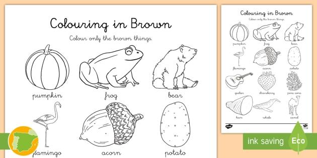 A1 Ficha de actividad: colorea marrón en inglés - colores