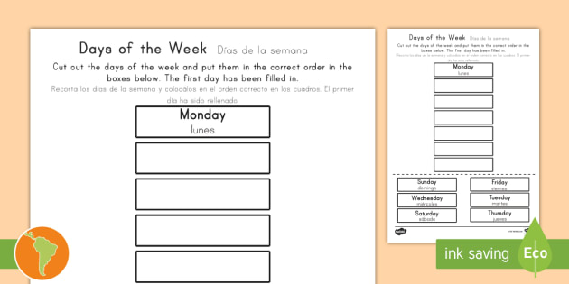 Calendar Days Of The Week In Spanish.Days Of The Week Cut And Stick Worksheet Activity Sheet Us