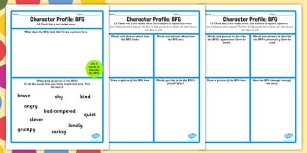 Character Profile Worksheet to Support Teaching on The BFG - bfg, character, worksheet