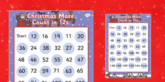 Christmas Maze Counting in 12s Activity Sheet - christmas, maze, counting, 12, worksheet