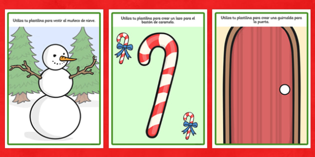 Christmas Playdough Mats Spanish - spanish, christmas, playdough mats, playdough, mats