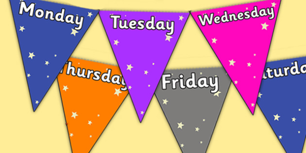 Star Themed Days of the Week Bunting - star themed, days of the week on bunting, days of the week, star themed days of the week on bunting
