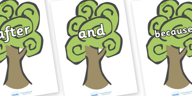 Connectives on Trees - Connectives, VCOP, connective resources, connectives display words, connective displays
