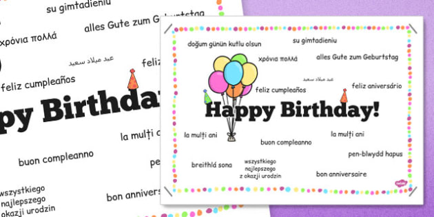 Happy Birthday in Different Languages Poster - happy birthday, different, languages