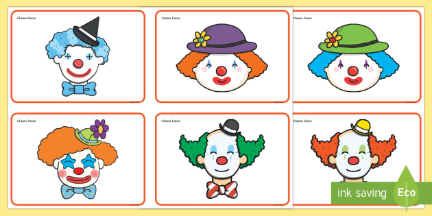 Clown Faces Sorting Activity - clown, clown faces, sorting activity, sorting, ordering, themed sorting activity, themed activity, clown sorting