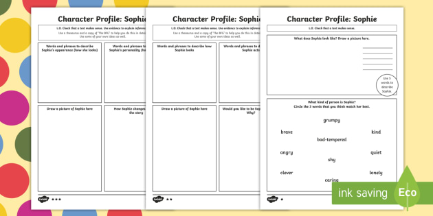 Character Profile Sophie Worksheet to Support Teaching on The BFG - bfg, character, worksheet