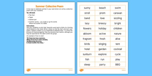 Elderly Care Summer Collective Poem - Elderly, Reminiscence, Care Homes, Summer