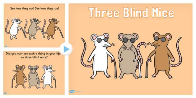 Three Blind Mice Nursery Rhyme PowerPoint - rhymes, songs, music