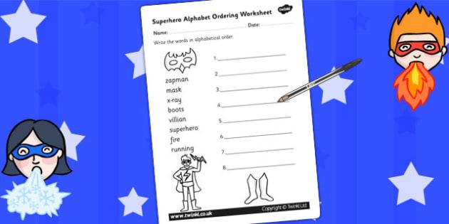Superhero Themed Alphabet Ordering Worksheet Differentiated