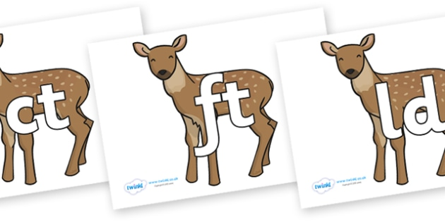 Final Letter Blends on Fawns - Final Letters, final letter, letter blend, letter blends, consonant, consonants, digraph, trigraph, literacy, alphabet, letters, foundation stage literacy