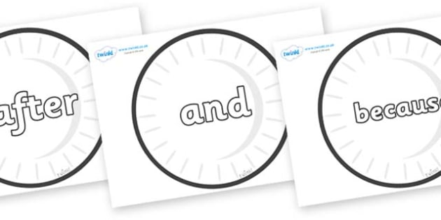 Connectives on Circles (Plain) - Connectives, VCOP, connective resources, connectives display words, connective displays