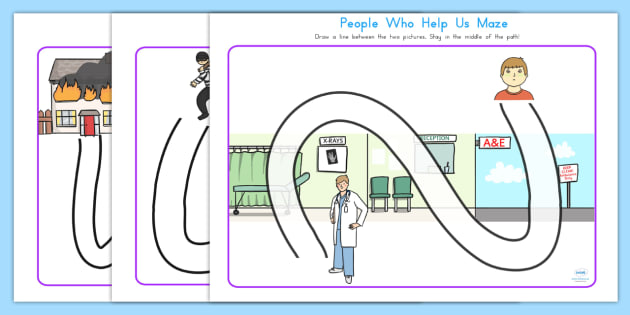 People Who Help Us Pencil Path Control Worksheets - motor skills