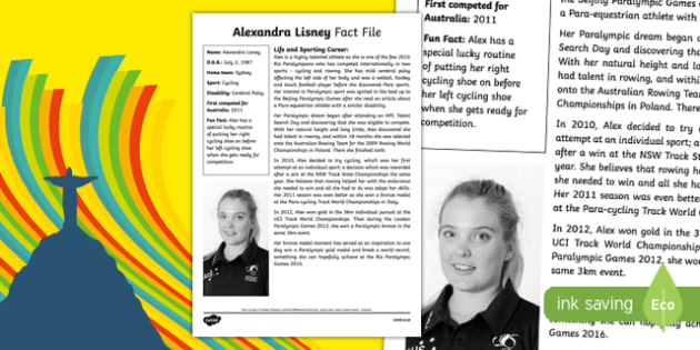 Paralympian Alexandra Lisney Fact File-Australia