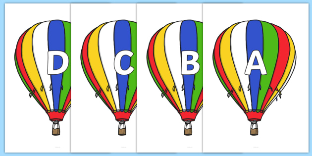 A-Z Alphabet on Hot Air Balloons (Plain) - A-Z, A4, display, Alphabet frieze, Display letters, Letter posters, A-Z letters, Alphabet flashcards