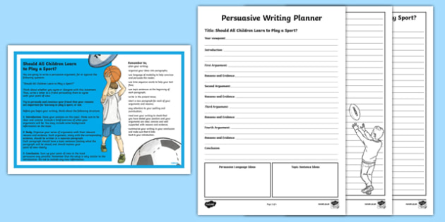Year 5 Should All Children Learn to Play a Sport? Persuasive  Writing Worksheet / Activity Sheet-Australia