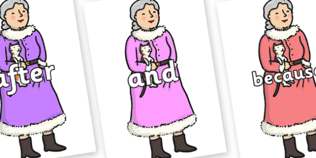 Connectives on Mrs Clause to Support Teaching on The Jolly Christmas Postman - Connectives, VCOP, connective resources, connectives display words, connective displays