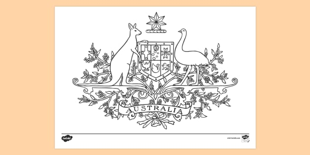 Australian Coat of Arms - Colouring Page - Australian coat of