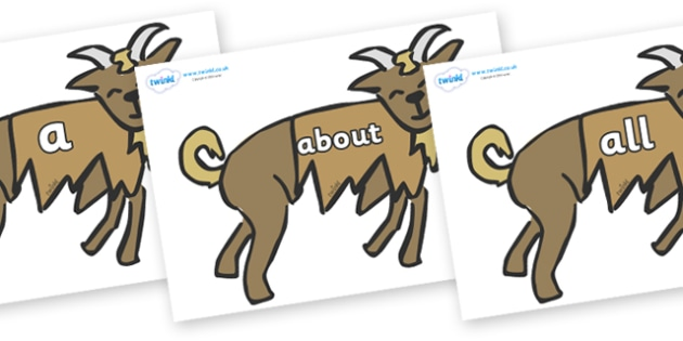100 High Frequency Words on Little Billy Goat Gruff - High frequency words, hfw, DfES Letters and Sounds, Letters and Sounds, display words