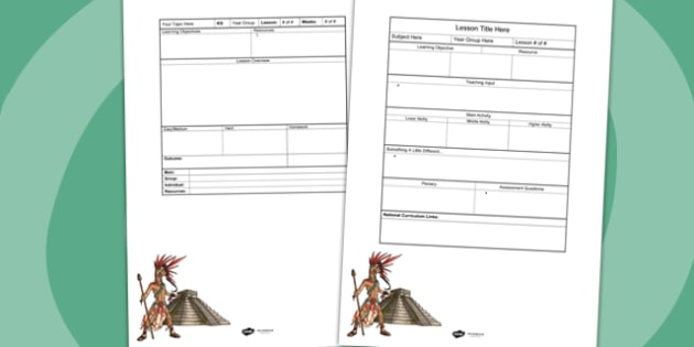 Ancient Mayans Editable Individual Lesson Plan Template - plan