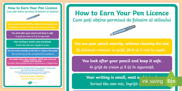 How To Earn Your Pen Licence Display Poster Englishromanian