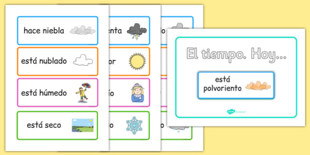 Weather Display Spanish - spanish, weather, today, today's weather, calendar, display, sign, poster