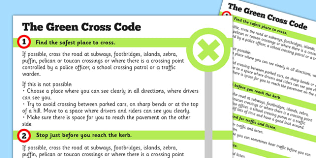 The Green Cross Code Hand Out - green cross, code, print out