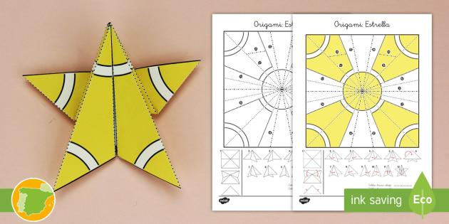 Manualidad Estrella De Origami Navidad Natividad Santa - Origami-papa-noel