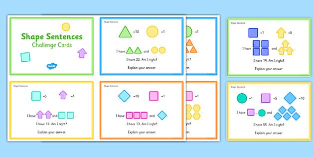 Shape Sentences Challenge Cards