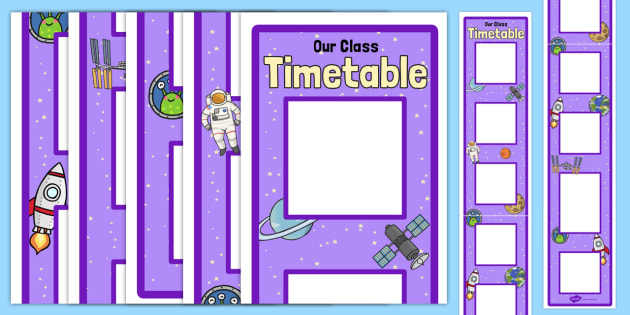 Large Space Themed Vertical Visual Timetable Display - timetable
