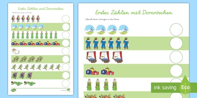 Dornröschen Arbeitsblatt: Erstes Zählen - Dornröschen