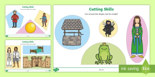 The Frog Prince Themed Cutting Skills Worksheet - motor skills