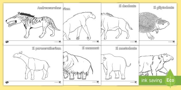 Gli Animali Delletà Della Pietra Fogli Da Colorare Storia Preistoria