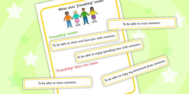 What Does Friendship Mean Sorting Activity - communication