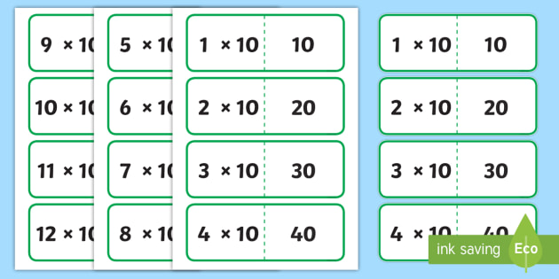 10 Times Table Cards - multiplication, ten, visual, numeracy, times tables, times table
