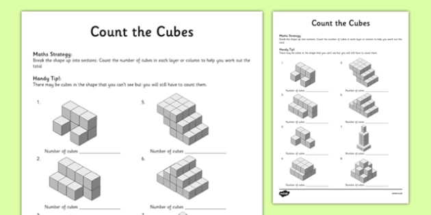 Year 3 Count the Cubes Activity Sheet - worksheet, test skills, NAPLAN, equations, number sentences, missing numbers, inverse operations, part part whole, problem solving, reasoning