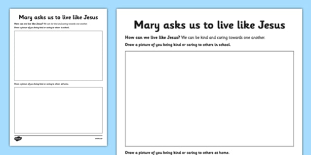 Mary Asks Us to Live like Jesus Worksheet / Activity Sheet Junior - Mary, Our Lady, May, Mary in May, hail mary, religion, may altar, prayer, worksheet / activity sheet, sacred space, worksheet