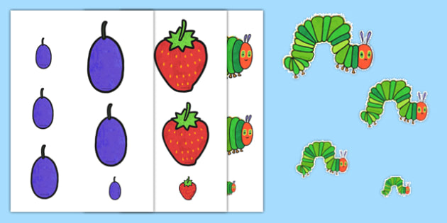 Size Ordering to Support Teaching on The Very Hungry Caterpillar - the very hungry caterpillar, size ordering, size order, size ordering activity, size and shape, shape, size