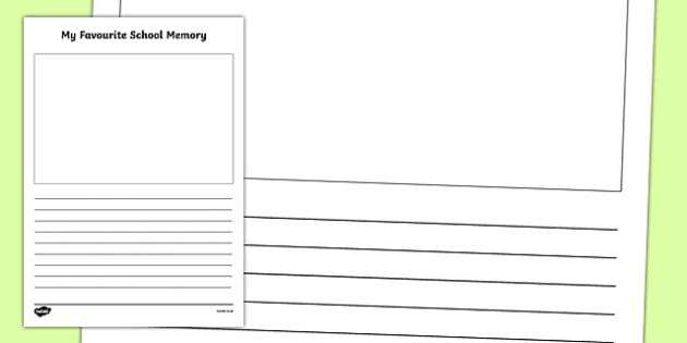 Favourite Memory Activity Writing Worksheet / Activity Sheet, worksheet