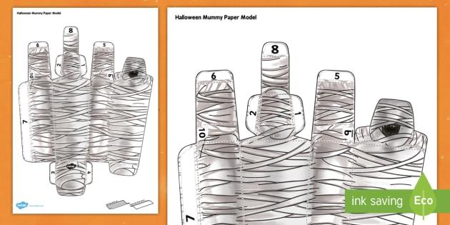 3D Halloween Mummy Paper Model - 3d, halloween, mummy, model, paper