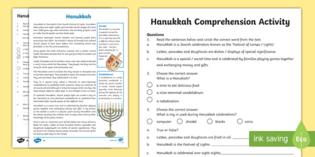 Hanukkah Differentiated Comprehension Challenge Sheet