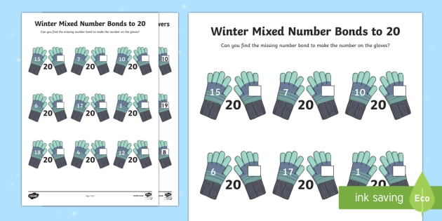Winter-Themed Mixed Number Bonds to 20 Activity Sheet