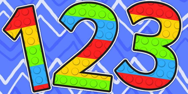 Building Brick Themed A4 Display Numbers - number, display, toys, building bricks