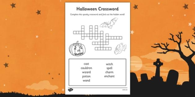 Halloween Crossword - halloween, crossword, cross word, word games, word activities, wet play, wet play activities, wet play games, classroom games, games